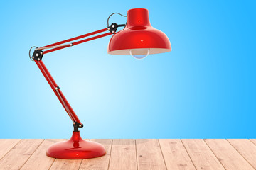 Desk lamp on the wooden table, 3D rendering