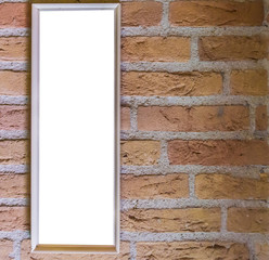 Blank small long white rectangular shaped picture frame hanging on a brick wall background