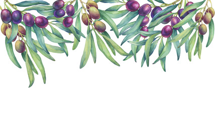 Frame, border with olive branches. Horizontal banner with ripe fruit and leaves. Watercolor hand drawn painting illustration isolated on a white background.