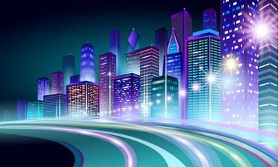 Smart city 3D neon glowing cityscape. Intelligent building highway route night futuristic business concept. Web online vivid color cyberpunk retrowave. Urban technology banner vector illustration