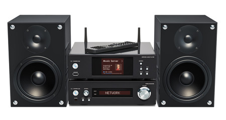 Home Stereo System. Network audio player, stereo receiver and speakers, 3D rendering