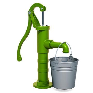 Hand water pump with galvanized bucket. 3D rendering