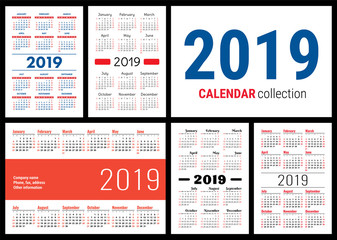 Calendar 2019. English vector template. Big collection of pocket calendars ready for printing. Calender set. Week starts on Sunday. Basic grid. New year banner. Simple design. Various types