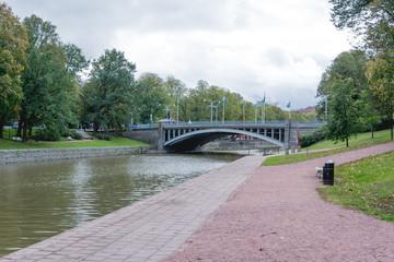 September river side view to the aurajoki river, Turku Finland.