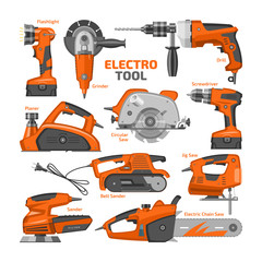 Power tools vector electric construction equipment power-planer grinder and circular-saw illustration machinery set of screwdriver and electrical sander in toolbox isolated on white background