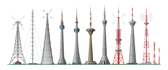 Tower vector global skyline towered antenna construction in city and skyscraper building with network communication illustration cityscape set of towering architecture isolated on white background