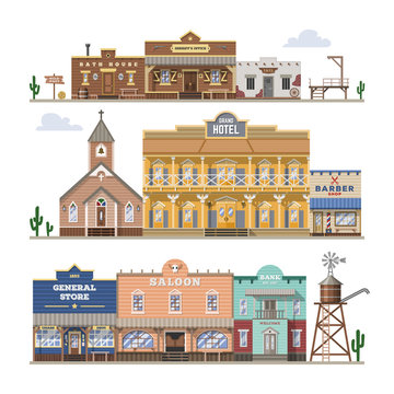 Saloon vector wild west building and western cowboys house or bar in street illustration wildly set of country landscape with architecture hotel store isolated on white background