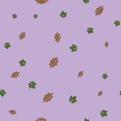 Oak and maple leaf pattern seamless color