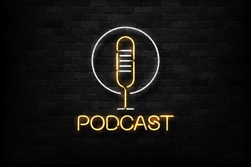 Vector realistic isolated neon sign of Podcast logo with a microphone for decoration and covering on the wall background. Concept of radio, broadcasting and dj.