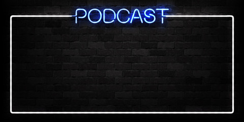 Vector realistic isolated neon sign of Podcast frame logo for decoration and covering on the wall background. Concept of radio, broadcasting and dj.