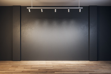 Contemporary gallery with blank wall