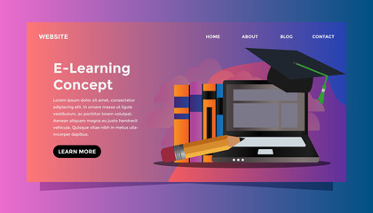 E-learning concept. Ready to use vector illustration
