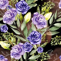 Beautiful watercolor pattern with anemones and .