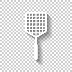 Fly swatter icon. White icon with shadow on transparent backgrou