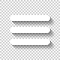 Hamburger menu. Web icon. White icon with shadow on transparent