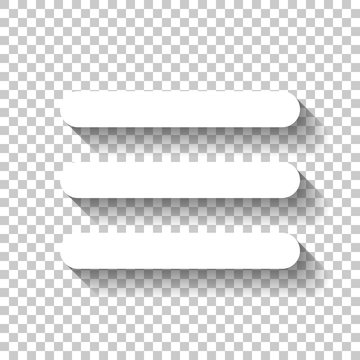 Hamburger menu. Web icon. White icon with shadow on transparent