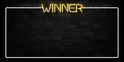 Vector realistic isolated neon sign of Winner frame logo for decoration and covering on the wall background. Concept of casino winning, award ceremony and jackpot.