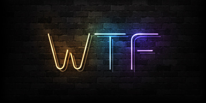 Vector realistic isolated neon sign of WTF typography logo for decoration and covering on the wall background. Concept of social media.