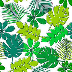 Seamless pattern with green tropical leaves. Floral background with palm, monstera and other assorted jungle leaf.