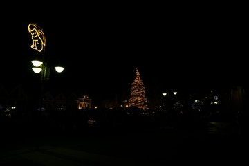 Christmas tree and decorations in the town. Slovakia