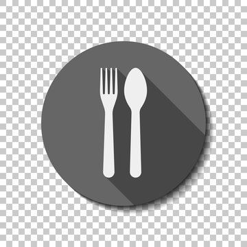 Fork and spoon, icon. Kitchen tools. flat icon, long shadow, circle, transparent grid. Badge or sticker style