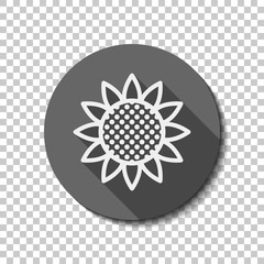 Sunflower, plant. Nature icon. flat icon, long shadow, circle, transparent grid. Badge or sticker style