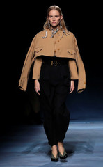 A model presents a creation by designer Clare Waight Keller as part of her Spring/Summer 2019 women's ready-to-wear collection show for fashion house Givenchy during Paris Fashion Week in Paris