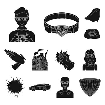 A fantastic superhero black icons in set collection for design. Superhero s equipment vector symbol stock web illustration.