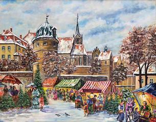 Gemälde Weihnachtsmarkt