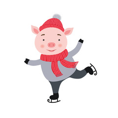 Cute Pig is skating. New year and Christmas card composition, handmade print. Vector illustration.