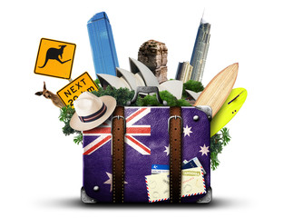 Poster Oceanië Australia, retro suitcase with hat and attractions Australia