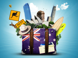 In de dag Australië Australia, retro suitcase with hat and attractions Australia