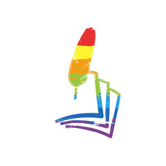 feather and paper. simple silhouette. Drawing sign with LGBT style, seven colors of rainbow (red, orange, yellow, green, blue, indigo, violet