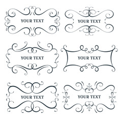 Vector flourish frames set, scroll border collection, place for text and sign, curl decoration elements, vintage divider decor