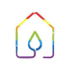 house with water drop icon. line style. Drawing sign with LGBT style, seven colors of rainbow (red, orange, yellow, green, blue, indigo, violet