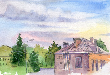 The courtyard of the old house. Sky clouds. Landscape. Dawn. Watercolor. Drawing by hand. Beautiful background for the cover of a sketchbook.