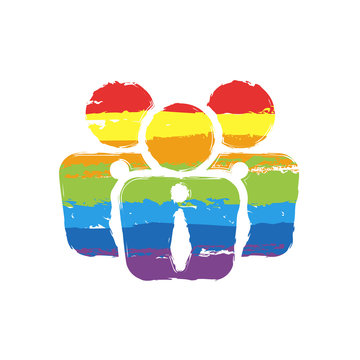 office people, team. Drawing sign with LGBT style, seven colors of rainbow (red, orange, yellow, green, blue, indigo, violet