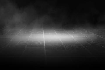 Background of an empty dark street, wet asphalt. Spotlight, smoke, fog