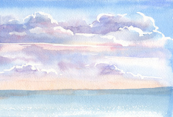Landscape. Watercolor, gouache. Drawing by hand. Russian village. Early morning. Sky clouds. Dawn. Delicate background for invitation cards.