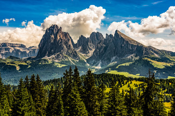 Classic Dolomites view from Seiser Alm