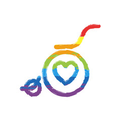 wheelchair and heart, outline icon. Drawing sign with LGBT style, seven colors of rainbow (red, orange, yellow, green, blue, indigo, violet