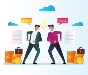 Two businessman office workers character have disagreement business contract document. Employee managers investment conflict concept. Vector flat cartoon isolated illustration
