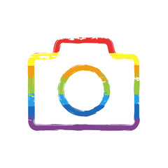 Photo camera, linear symbol with thin outline, simple icon. Drawing sign with LGBT style, seven colors of rainbow (red, orange, yellow, green, blue, indigo, violet