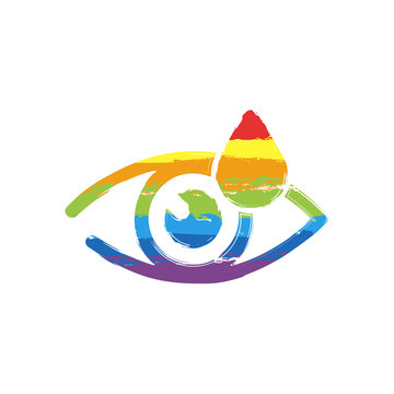Eye and drop. Simple icon. Drawing sign with LGBT style, seven colors of rainbow (red, orange, yellow, green, blue, indigo, violet