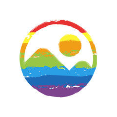 Simple picture icon. Drawing sign with LGBT style, seven colors of rainbow (red, orange, yellow, green, blue, indigo, violet