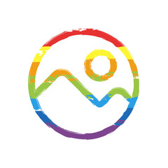 Simple picture icon. Linear symbol, thin outline. Drawing sign with LGBT style, seven colors of rainbow (red, orange, yellow, green, blue, indigo, violet
