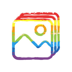 Simple stack of pictures. Drawing sign with LGBT style, seven colors of rainbow (red, orange, yellow, green, blue, indigo, violet