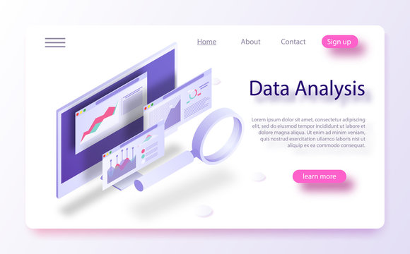 Data analytics concept banner. The report on the computer, program of statistics and analytics