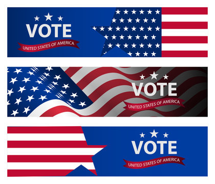 Presidential election banner background. US Presidential election 2020.