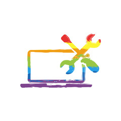 Laptop repair service. Drawing sign with LGBT style, seven colors of rainbow (red, orange, yellow, green, blue, indigo, violet